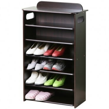 Homelike 新古典歐風六層鞋櫃 胡桃色