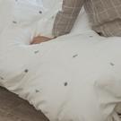 色織水洗棉 刺繡被套(薄) 雙人【珍珠白 x 仙人掌】長絨棉 透氣親膚 mix&match 簡約設計