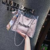 斜背包 仙女包包2018夏天新款小清新蕾絲果凍包百搭絲巾水桶包沙灘斜背包/側背包【快速出貨】