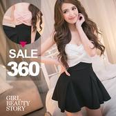 SISI【D8033】SEXY性感平口低胸修身高腰傘狀裙襬連身裙洋裝禮服