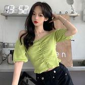 一字肩 夏裝針織短袖女韓版牛油果綠一字肩針織衫百搭顯瘦泡泡袖短款上衣 瑪麗蘇