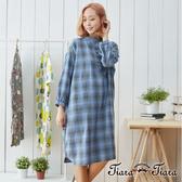 【Tiara Tiara】女神洋裝 純棉格紋寬版長袖洋裝(藍)