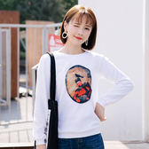 【GZ45】秋裝新款韓版長袖T恤 人像印花圓領打底衫上衣