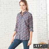 【JEEP】女裝 碎花圖騰長袖襯衫 (深藍)
