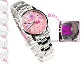 HELLO KITTY 專櫃品牌  繽紛小花香檳亮澤粉紅色手錶女孩 女錶 時間玩家  LK572LWPA