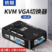 KVM切換器2口電腦主機二進一出vga鼠標鍵盤usb顯示器共享器 皇者榮耀