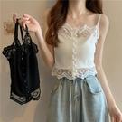 夏季網紅短款外穿小吊帶背心女內搭2021新款蕾絲拼接針織打底上衣