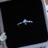 天然斯里蘭卡月光石戒指藍月光石女指環月光簡約禮品