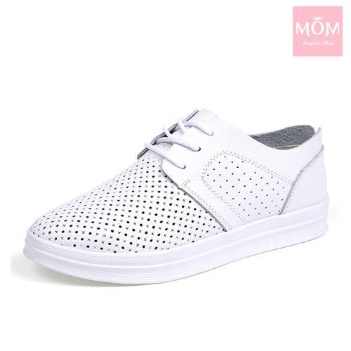 全真皮縷空透氣馬卡龍色經典小白鞋款休閒鞋 白 *MOM*