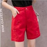 牛仔五分褲女寬鬆直筒短褲新款四5分夏季中褲外穿高腰顯瘦薄