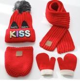 秋冬四件套兒童帽子圍巾背包手套加絨嬰兒毛線帽男童女寶寶針織帽  潮流小鋪