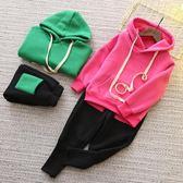 女童套裝 女童加厚抓絨運動套裝新款韓版兒童套頭衛衣休閒褲兩件套 米蘭街頭