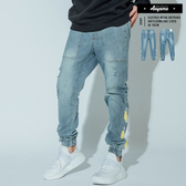 牛仔褲 微破壞美式街頭Jogger寬鬆牛仔縮口褲【H19726】工作褲 九分褲 束口褲 破壞 工作褲 寬褲