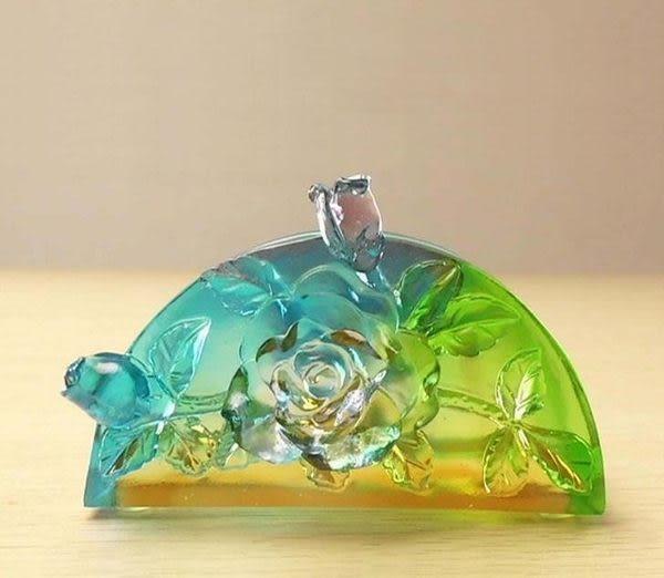 高檔琉璃精品 花開富貴名片夾