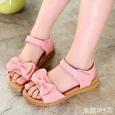 女童涼鞋 新款蝴蝶結公主鞋中大童學生防滑涼鞋 米蘭shoe