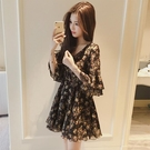 碎花連衣裙夏 小個子雪紡碎花連衣裙女夏2021新款短款短裙春氣質顯瘦矮個子裙子 設計師