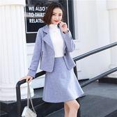 毛呢連身裙秋冬款2018新款潮韓版修身高腰套裝裙兩件套 萬客居