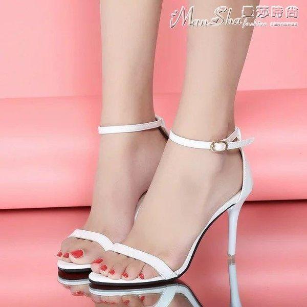 高跟涼鞋夏季高跟鞋細跟涼鞋性感黑色露趾簡約女鞋金色高跟 曼莎時尚