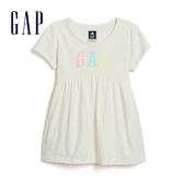 Gap 女幼童 Logo棉質短袖上衣 584239-象牙白