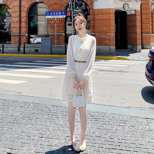 出清388 韓系小香風蕾絲花朵收腰顯瘦氣質長袖洋裝