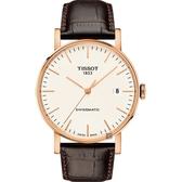 TISSOT 天梭 Everytime 魅時系列機械錶-玫瑰金框x咖啡/40mm T1094073603100