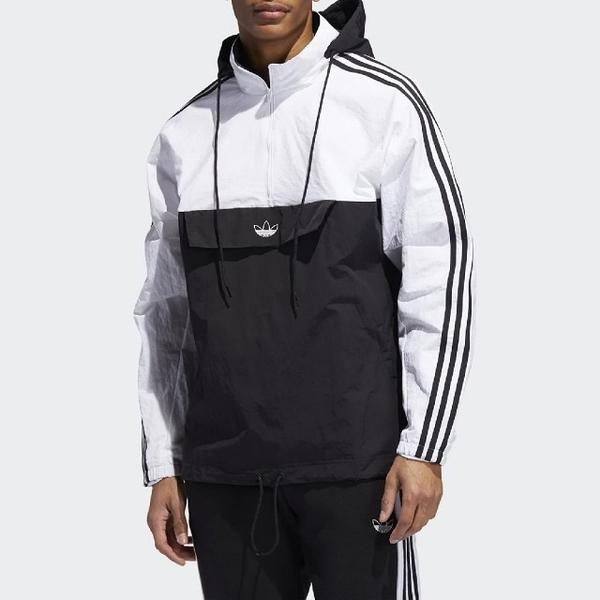 L-adidas Outline Half-Zip Anorak 白 黑 男款 運動休閒 連帽 長袖T恤 ED5662
