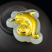 金鑲玉項鍊 和闐玉吊墜-海豚福字生日情人節禮物男女飾品73gf65【時尚巴黎】