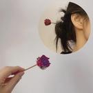 小王子的玫瑰天然真干花發簪紅滴膠簡約氣質漢服古風旗袍盤發頭飾 滿天星