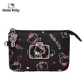 【橘子包包館】Hello Kitty 凱蒂漫旅-三層零錢包-黑 KT01T08BK 零錢包
