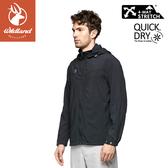 【Wildland 荒野 男 彈性透氣抗UV都會外套《黑》】0A81912/防曬夾克/防潑水薄外套/運動外套