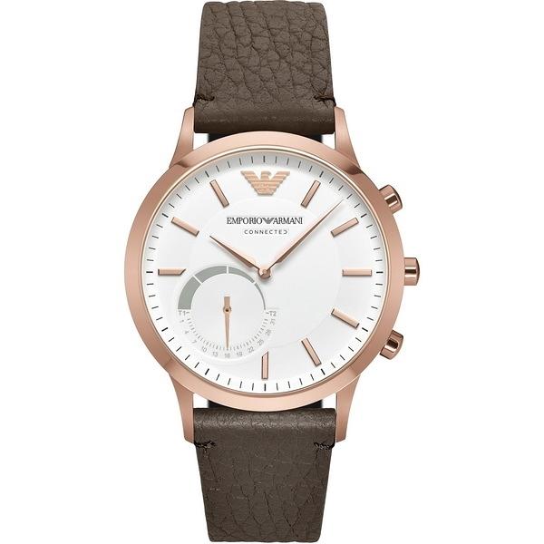 【台南 時代鐘錶 Emporio Armani】亞曼尼 EA CONNECTED WATCHES 智慧型手錶 ART3002 白/咖啡 43mm