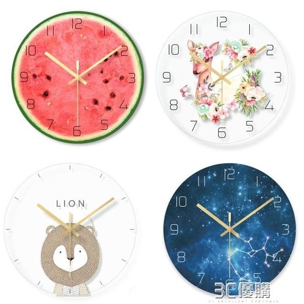 卡通動漫可愛靜音壁鐘個性創意時尚掛鐘教室房間男孩女孩鐘錶HM 3C優購