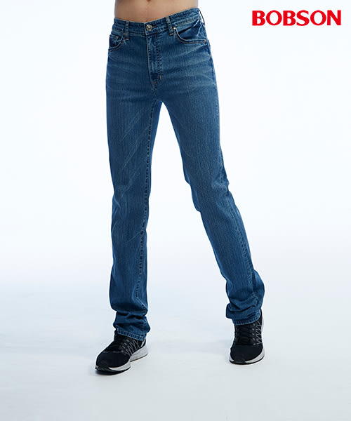 BOBSON 男款低腰後袋繡花直筒褲(1809-53)