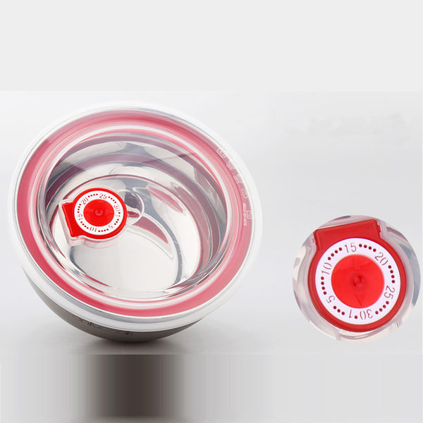PUSH! 餐具雙層加厚防燙防摔不鏽鋼碗飯碗帶保鮮日期標示蓋子(小號)E30