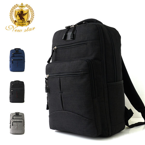 韓風簡約時尚防水雙層拉鍊多口袋後背包包 NEW STAR BK244