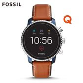 FOSSIL Q EXPLORIST HR 焦糖咖皮革觸控式螢幕智慧手錶 男 FTW4016
