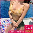 【現貨】梨卡 - 火辣[性感後綁帶+高腰遮肚]顯瘦挖洞格紋格子二件式兩截式泳裝泳衣比基尼CR506