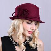 禮帽-歐美時尚優雅花朵女羊毛呢帽3色73tk49[巴黎精品]