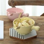 泡麵碗 陶瓷碗帶手柄 水果沙拉碗日式有柄碗麵碗  喵可可