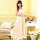 中大尺碼洋裝 L-3XL小禮服韓版雪紡短袖縫鑽長版連衣裙 杏色 #gk9802 @卡樂@