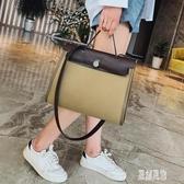 時尚凱莉包2019新款帆布女包復古公文包手提包單肩斜挎包包xy3856【原創風館】