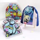 迪士尼絨布印花束口袋 怪獸電力公司 旅行置物袋 小物袋