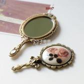 隨身化妝鏡 韓國金屬復古玫瑰花朵 隨身便攜可折疊鏡手柄鏡 小號化妝鏡子 卡菲婭