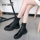 [Here Shoes] 4CM短靴 皮革拼接彈力襪套 筒高15.5CM 經典厚底馬汀靴 襪鞋 襪靴 黑色-KS10999