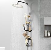 花灑套裝 淋浴花灑套裝家用全銅花灑黑色衛浴增壓噴頭沐浴歐式黑金洗澡神器JD BBJH