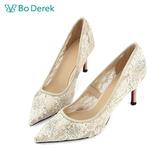 Bo Derek 蕾絲透膚貼鑽高跟鞋-杏色