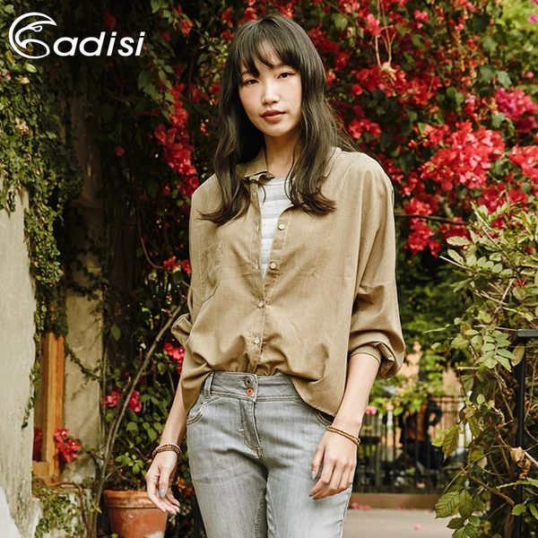 ADISI 女長袖落肩休閒麻感超透氣襯衫AL1911042 (S-L) / 城市綠洲 (UPF30+、抗紫外線、透氣、快乾)