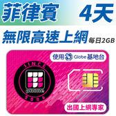 【TPHONE上網專家】菲律賓 無限高速上網卡 4天 每天前面2GB支援高速