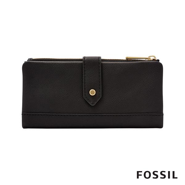 FOSSIL Lainie 金釦設計真皮實用拉鍊長夾-黑色 SWL2060001