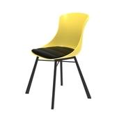 (組)特力屋萊特塑鋼椅-金屬腳架+黃椅背+黑座墊